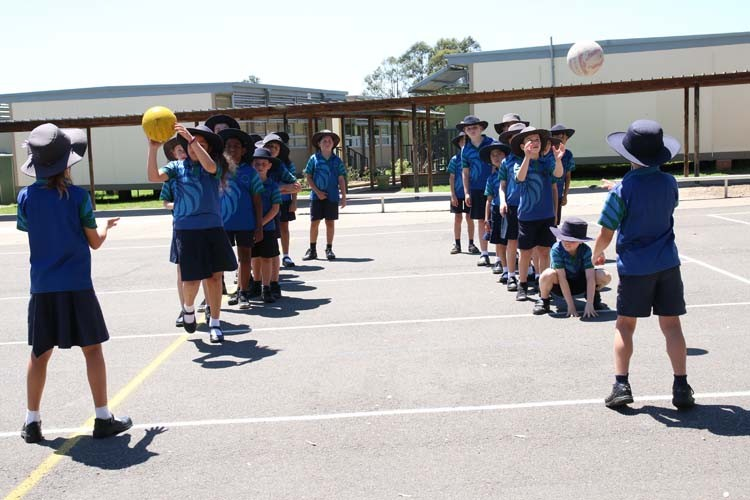 Students playing captain ball